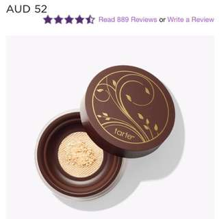 TARTE Amazonian Clay Full Coverage Airbrush Foundation fair-light neutral and airbuki bamboo powder foundation brush