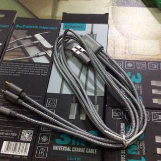 Universal Charger 3 in 1 Romoss brand 8pin/Lightning
