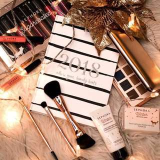 Sephora 2018 Monochromatic Silver Glitter Planner/Calendar