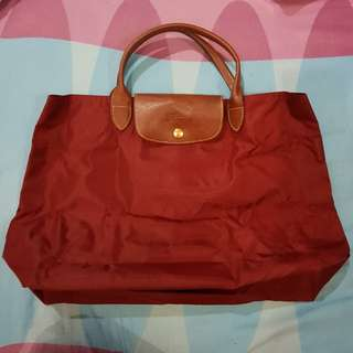 Authentic Longchamp Le Pliage Nylon Medium Handbag Short Handle (Maroon)