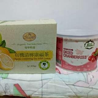有機清檸康福茶+蔓越莓乾