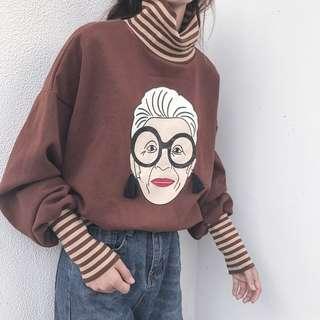 black/white/brown top hoodie sweatshirt