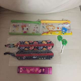 All For $5 - BN 4x pencil cases, 1 pack pencils, 2 lollipop erasers.