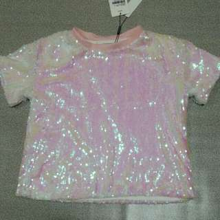Bnwt holographic pastel pink sequin top black milk dupe