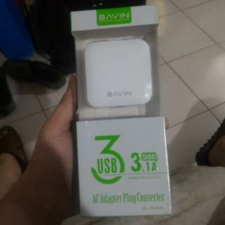 Bavin smart 3.1A 3 port fast charging adapter with usb cable