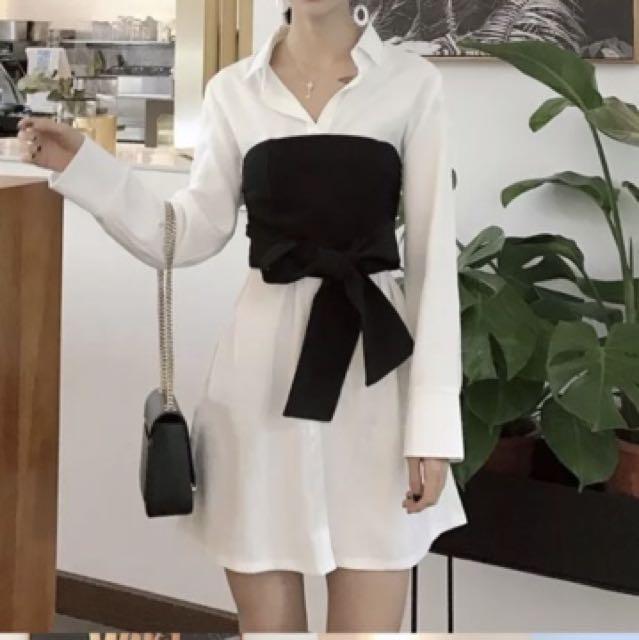 套裝❤️2017秋裝新款復古翻領中長款寬松長袖襯衫+綁帶裹胸氣質套裝女