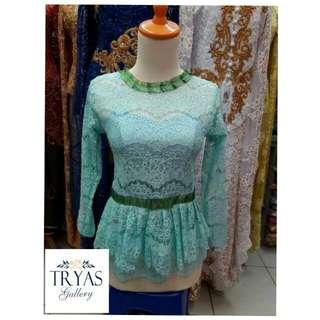 longtorso hijau mint  / baju muslim / gamis / hijab / kaftan / pashmina