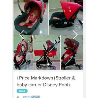 ⬇️Price Markdown⬇️Disney Pooh Stroller & Baby Carrier