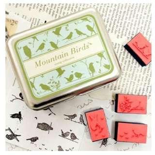 Mountain Birds Rubber Stamp Set in Tin Box