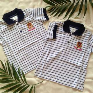 Baju polo authentic stripes navy