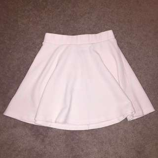 WHITE CREAM A-LINE FLARE SKIRT RIB