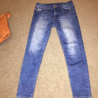 ZARA DENIM JEANS BLUE WHITE