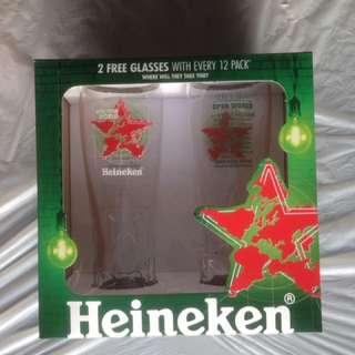 Two Heineken Beer Glasses, Open Your World, in box.