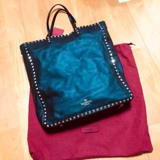 Valentino tote bag 側孭 大袋 黑色 窩釘 真皮