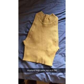Mustard High Neck Crop Top US6 (Fits au8)