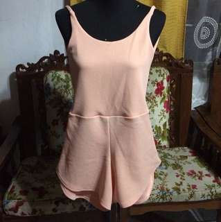 Peach Backless Romper