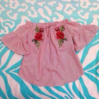 BN Red Off shoulder embroidery top