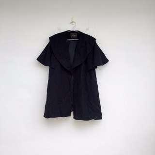 二手 魔法師的斗篷 黑色 毛料 斗篷 大衣 外套