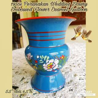 "1950s Peranakan Wedding Dowry Embossed Flowers Enamel Spittoon.. Made in Czech Unused, Mint Condition. Petite size & not tiny, 5.5"" dia, 6.5""h. $108, sms 96337309."