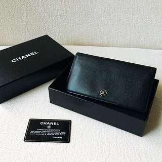 AUTHENTIC CHANEL Calfskin Bifold Yen Wallet / Purse