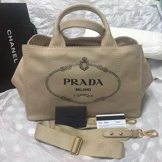 保正真品 Prada 帆布袋 1BG877