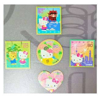 Japan 2010 Hello Kitty & Dear Daniel Greetings 80 Yen Complete 5v Set Fine Used