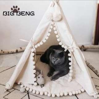 北歐風寵物米色可愛印地安球球邊/素色帳篷