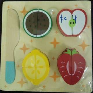 Fruit cutting wooden toy blocks