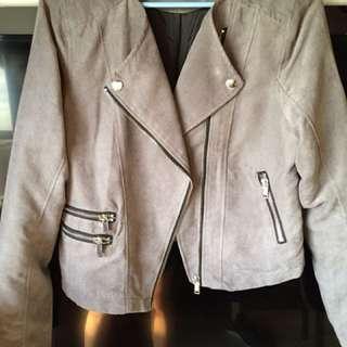 H&M Suede Gray Biker Jacket
