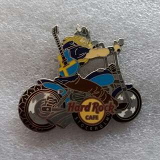 Hard Rock Cafe Pins ~ STOCKHOLM HOT & RARE 2012 VIKING RIDING ON CHOPPER WITH FLAG GUITAR ON BACK!