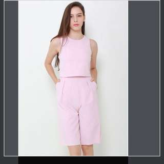 Pink Culottes Work Wear Romper