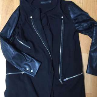 Zara hooded canvas jacket with leather sleeves