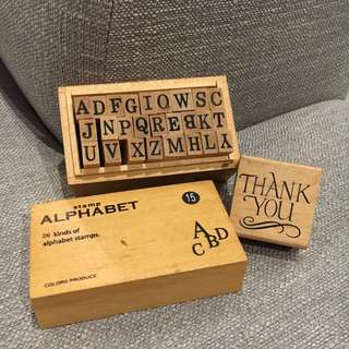 Alphabet and Thank You stamps