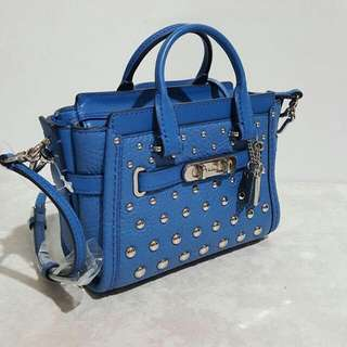 Coach Swagger 15 Lapis Blue Studded