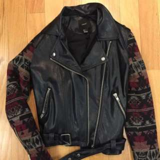 Aztec wool & leather Moto Jacket