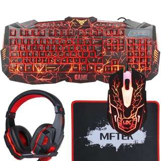 MFTEK Backlit Gaming Keyboard Mouse Combo with LED Gaming Headset