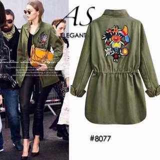 Green embroidered drawstring jacket