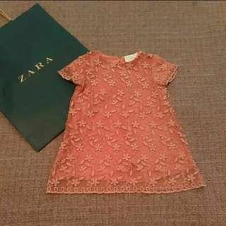 Zara Baby 俏麗 蕾絲 立體 繡花 洋裝 12~18