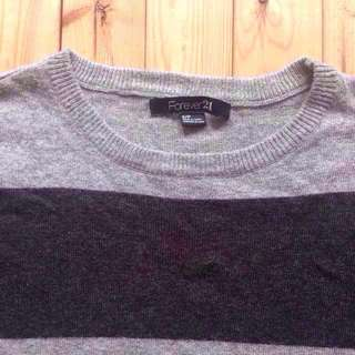 Forever 21 Wooly Long Sleeve Keeps-You-Warm Black Grey Stripe Top F21 His & Hers