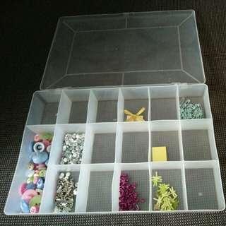Craft supplies and storage box