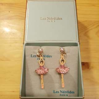 法國品牌 Les Nereides 巴蕾舞女孩耳環 粉紅色閃石配珍珠