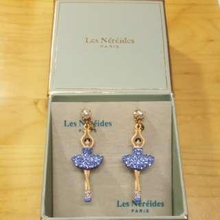 法國品牌 Les Nereides 限量版 巴蕾舞女孩耳環 粉藍色閃石配珍珠