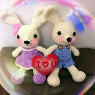Rabbit couple crochet doll