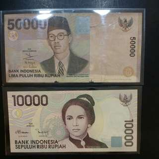 Indonesia 50000 & 10000 rupiah