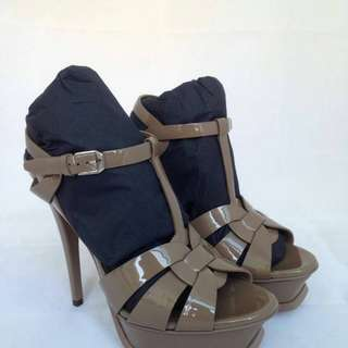 ready Saint Laurent Tribute 13cm Grey and Taupe patent Both size 38.5