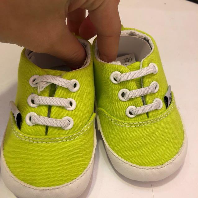 好評特價*時尚嬰兒螢光綠學步鞋11.5-13.5cm