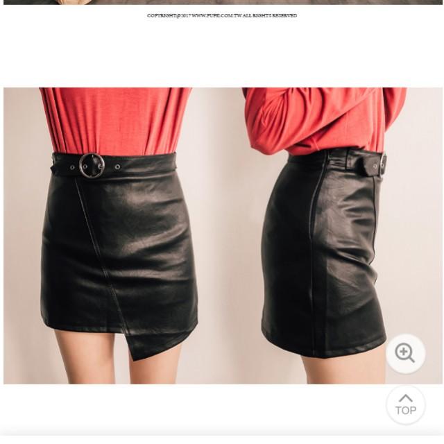 韓*不對稱皮革裙(有內裡)
