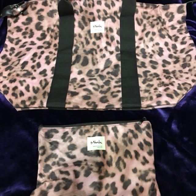 豹紋旅行包附隨身小包