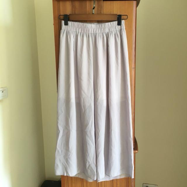 灰色雪紡寬褲