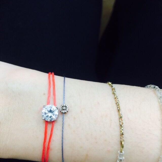 手工紅繩鋯石氣質手鍊